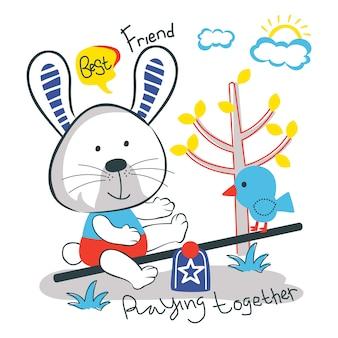 Dibujos animados animales graciosos conejo y pájaro