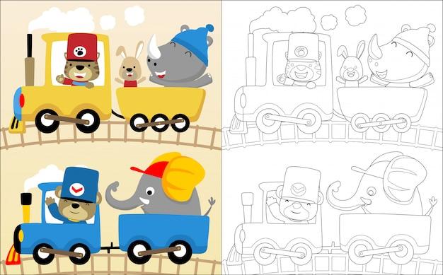 Dibujos animados de animales graciosos en locomotora de vapor