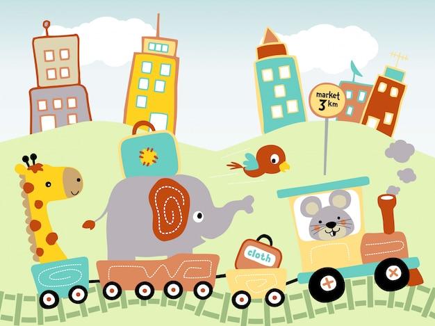 Dibujos animados de animales graciosos en tren