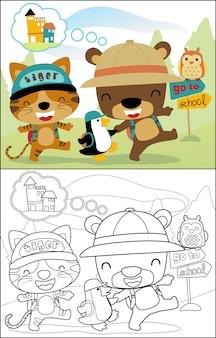 Dibujos animados de animales graciosos van a la escuela