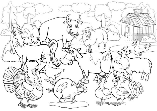 Dibujos animados de animales de granja para colorear libro