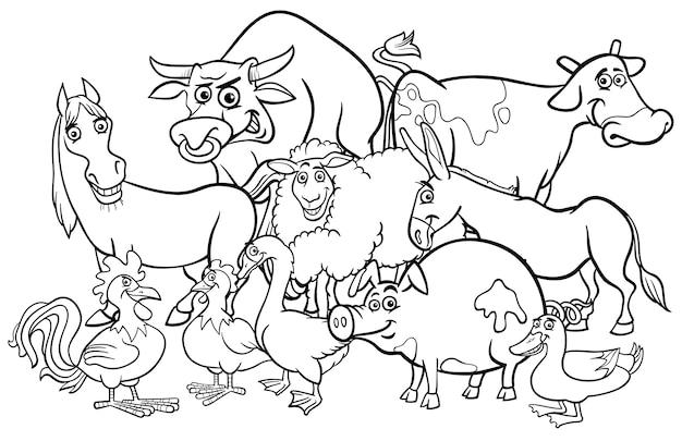Dibujos Animados Animales De Granja Para Colorear Vector Premium