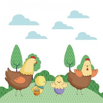 Dibujos animados de animales de granja feliz