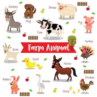 Dibujos animados de animales de granja con nombre de animal