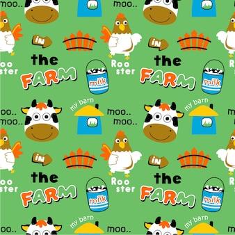 Dibujos animados de animales de granja de patrones sin fisuras