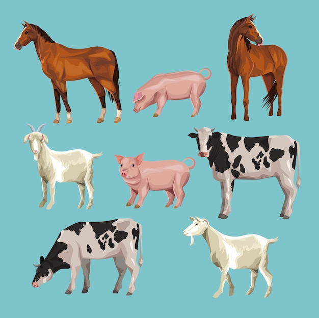 Dibujos animados de animales de granja