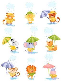 Dibujos animados de animales humanizados en impermeables amarillos caminan bajo la lluvia