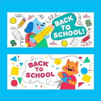Dibujos animados de animales lindos banner de regreso a la escuela