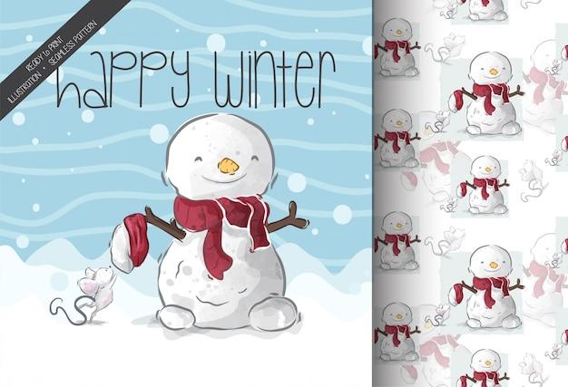 Dibujos animados de animales lindos felices en patrón de snowseamless