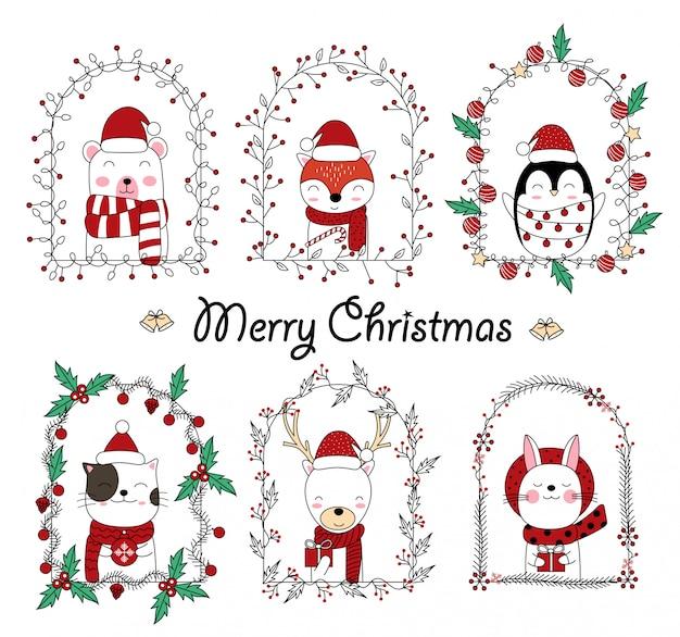 Dibujos animados de animales lindos de navidad en marco floral