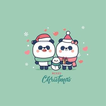 Dibujos animados de animales lindos del oso panda y edición navideña de estilo plano