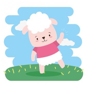 Dibujos animados de animales lindos ovejas y estilo plano, ilustración