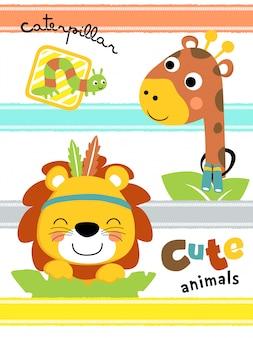 Dibujos animados de animales lindos en rayas de colores