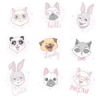 Dibujos animados de animales lindos para tarjeta de bebé e invitación.
