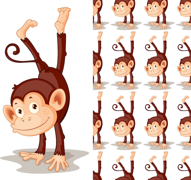 Dibujos animados de animales mono aislado