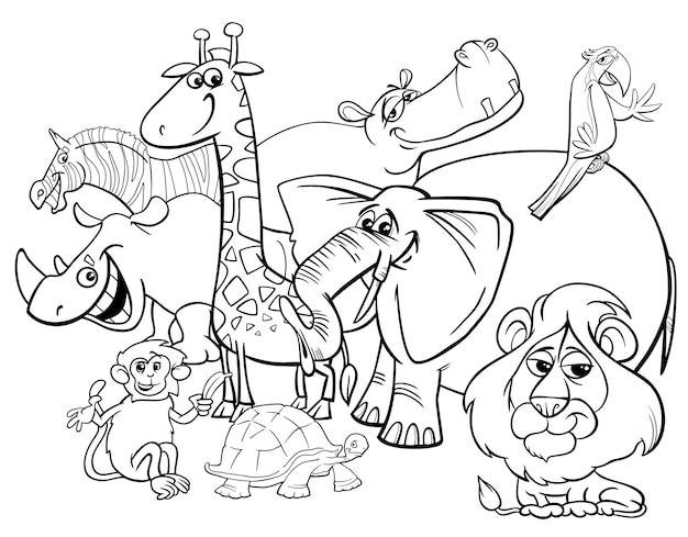 Dibujos Animados De Animales De Safari Para Colorear Vector Premium