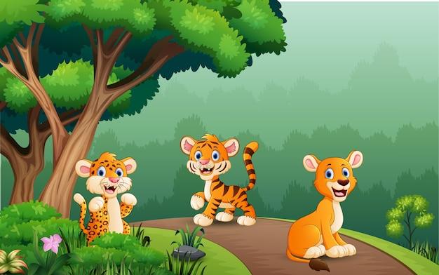Dibujos animados de animales salvajes disfrutando de la naturaleza en el bosque