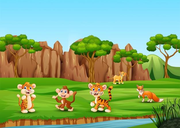 Dibujos animados de animales salvajes jugando y disfrutando en el campo