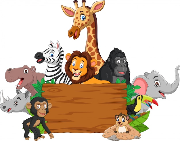 Dibujos animados de animales salvajes con letrero en blanco