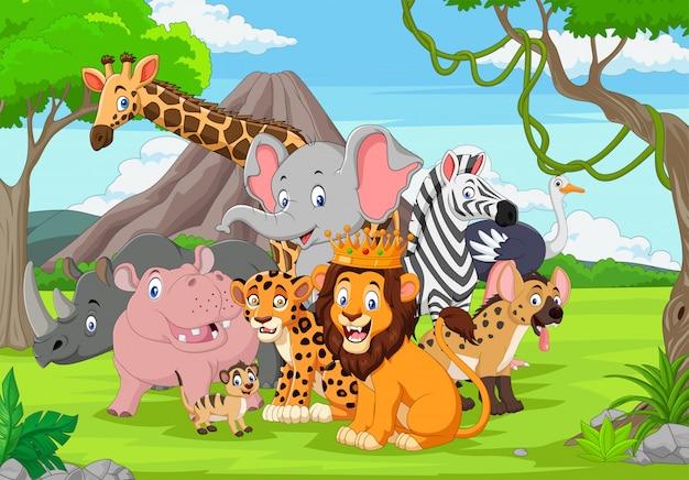 Dibujos animados de animales salvajes en la selva