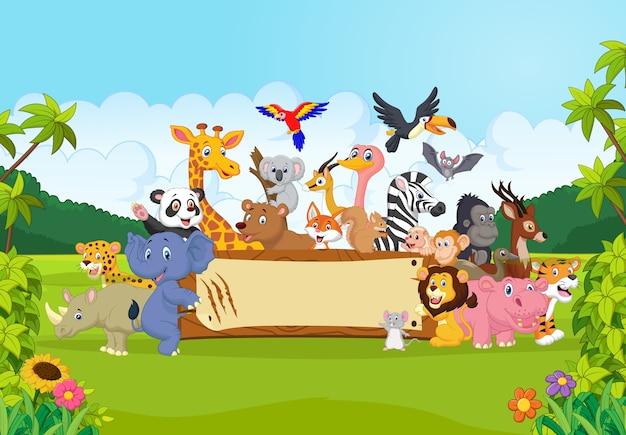 Dibujos animados de animales salvajes sosteniendo la bandera