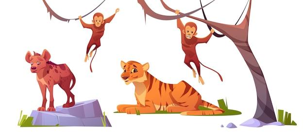 Dibujos animados de animales salvajes tigre, monleys y hiena.