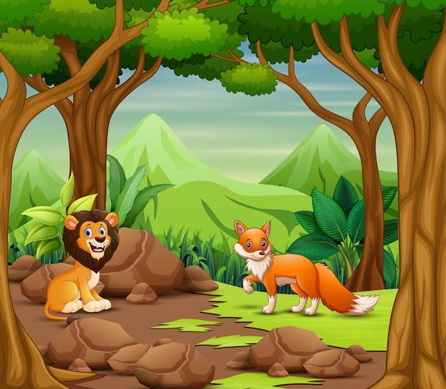Dibujos animados de animales salvajes viviendo en el bosque