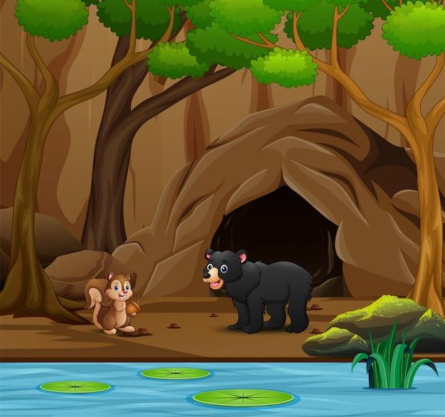Dibujos animados de animales salvajes viviendo en la cueva