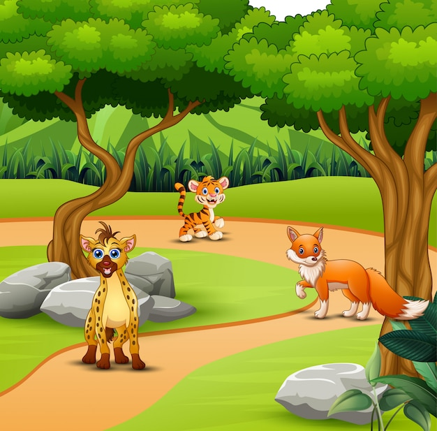 Dibujos animados de animales salvajes viviendo en la selva