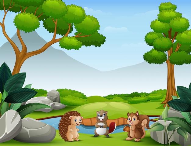 Dibujos animados de animales viviendo en la naturaleza salvaje