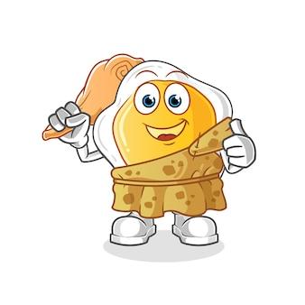 Dibujos animados antiguos de huevos fritos. mascota de dibujos animados