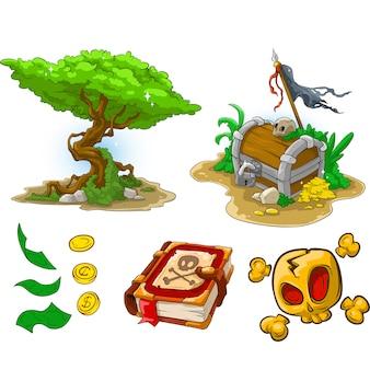 Dibujos animados árbol pirata cofre libro dinero y cráneo