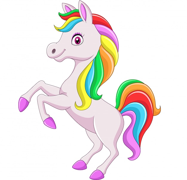 Dibujos animados arco iris caballo aislado