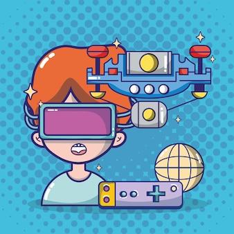 Dibujos animados de auriculares de realidad virtual