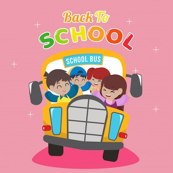 Dibujos animados de autobús escolar