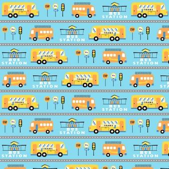 Dibujos animados de autobuses en vector patrón
