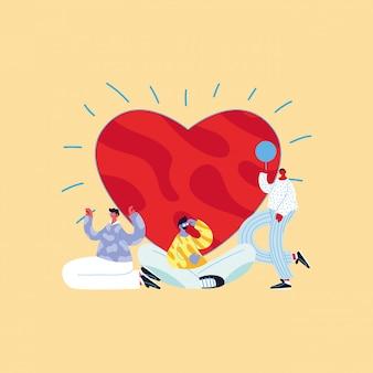 Dibujos animados de avatares de hombres con diseño de vector de corazón y globo