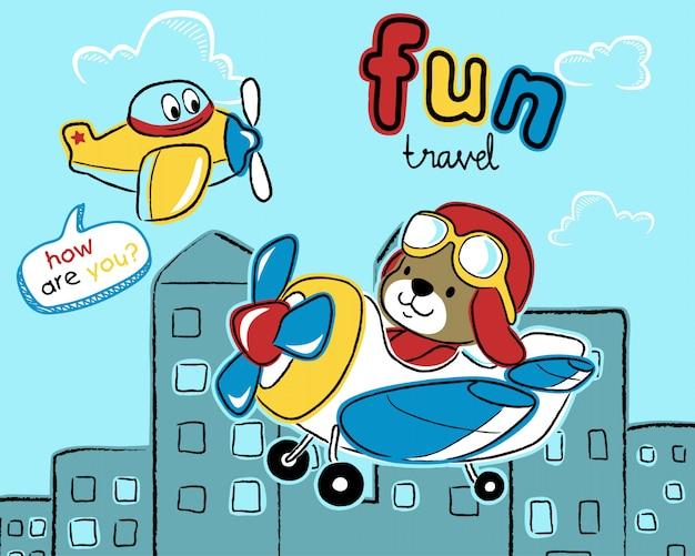 Dibujos animados de avión de aire con piloto lindo