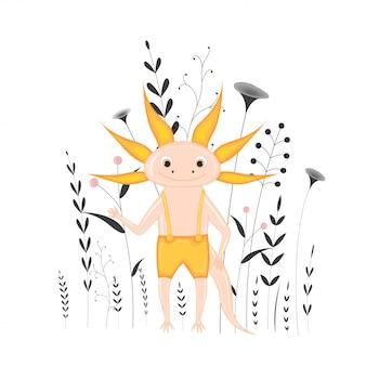 Dibujos animados axolotl con ramas y plantas.