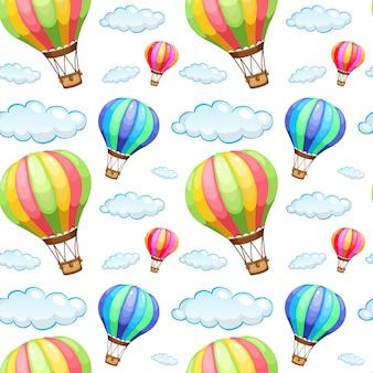 Dibujos animados de azulejo de patrones sin fisuras con globos de aire caliente