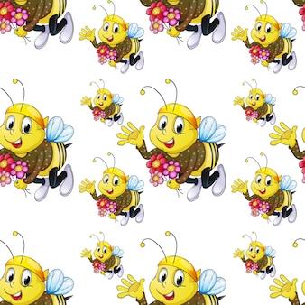 Dibujos animados de azulejos de patrones sin fisuras con abeja