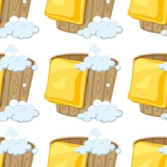 Dibujos animados de azulejos de patrones sin fisuras con cubo con agua y toalla