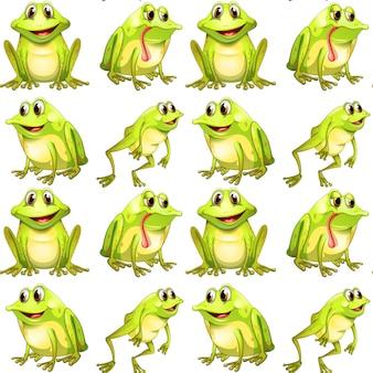Dibujos animados de azulejos de patrones sin fisuras con ranas
