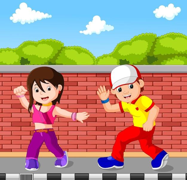 Dibujos animados de bailarina de hip hop