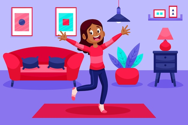 Dibujos animados de baile fitness en casa ilustración con personas