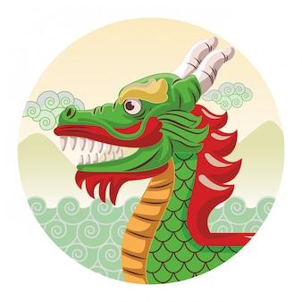 Dibujos animados de barco de dragón