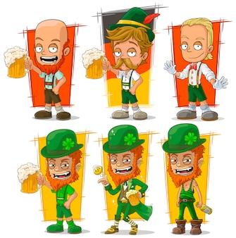 Dibujos animados bávaro con personaje de cerveza