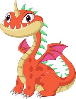 Dibujos animados bebé dragón en blanco