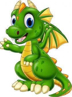 Dibujos animados bebé dragón presentando