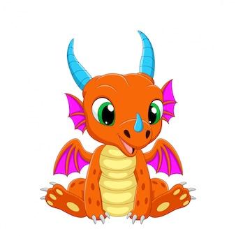 Dibujos animados bebé dragón sentado en blanco